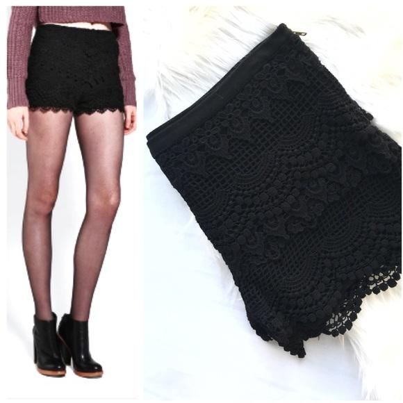 Pins Needles Shorts Pins Needles Black Crochet Poshmark